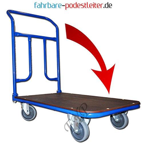 Klappbare Plattformwagen 800x500 Radvarianten: Ø 125mm Transportwagen Schiebewagen Handwagen Magazinwagen bis 200kg (A)