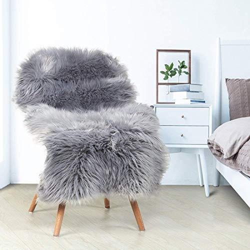 YIHAIC Faux Lammfell Schaffell Teppich, Kunstfell in Super weich Lammfellimitat Teppich Longhair Fell Optik Nachahmung Wolle Bettvorleger Sofa Matte (Grau, 60 x 90 cm) -