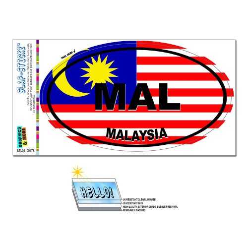 Malaysia Land Flagge–Mal Euro Oval Flagge Slap-Stickz Aufkleber Automotive Auto Fenster Spind Bumper Kofferraum Aufkleber