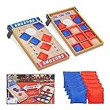 Relaxdays- Juegos de Habilidad 2 en 1 Cornhole y Tic TAC Toe, Madera-Tela-Arena,, 4 x 29,5 x 51 cm (10022795)