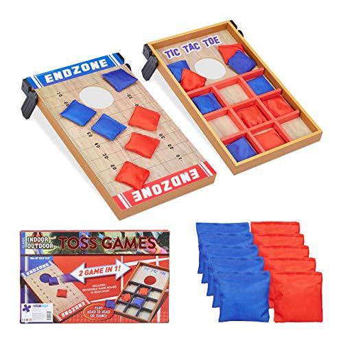 Relaxdays Wurfspiel 2 in 1, Cornhole & Tic Tac Toe, 10 Bean Bags, Geschicklichkeitsspiel, Indoor & Outdoor, mehrfarbig (Toss Bean Bag Boards)