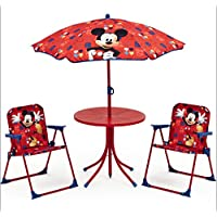 Micky Maus Tisch Stühle Schirm Set Kindertisch Gartenmöbel Mickey Mouse 89508MM preisvergleich bei kinderzimmerdekopreise.eu