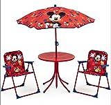Micky Maus Tisch Stühle Schirm Set Kindertisch Gartenmöbel Mickey Mouse 89508MM