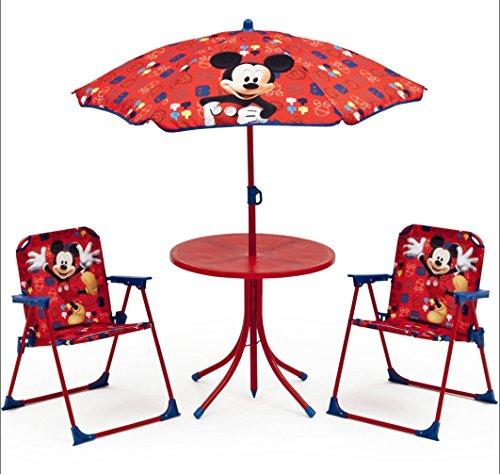 Und Minnie-möbel Mickey (Micky Maus Tisch Stühle Schirm Set Kindertisch Gartenmöbel Mickey Mouse 89508MM)