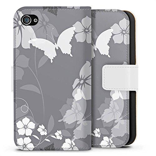 Apple iPhone X Silikon Hülle Case Schutzhülle Blume Schmetterling Grau Sideflip Tasche weiß