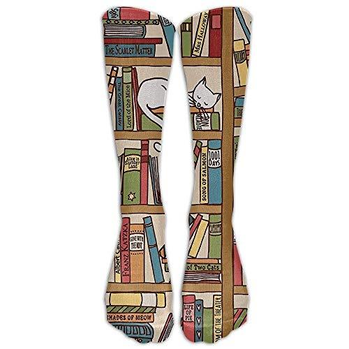 Yuerb Hohe Socken Athletic Nerd Book Lover Kitty Sleeping Over Bookshelf in Library Academics Outdoor Tube Stockings Classics Women Long Socks One Size