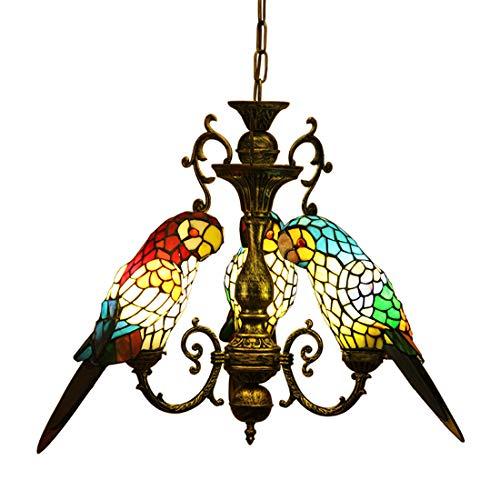 makernier Vintage Tiffany-Stil gebeizt Glas 3Arme Papageien Kronleuchter -
