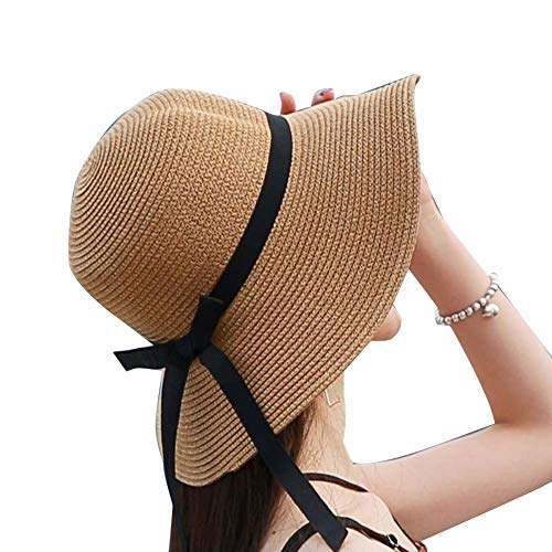 FLQL Stroh Sommerhut Damen Sonnenhüte Faltbarer Strohhut Mit Sonnenschutz Breite Krempe Sonnenschutz UV-Schutz Sonnenschirm Kleiner Frischer Strand