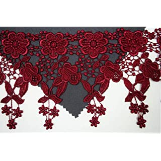 Altotux 4.5 12 Color Dangling Embroidered Floral Venice Lace Trim Guipure By Yd (Burgundy) by Altotux