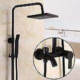 GFEI Negro Estilo Europeo antiguo set de ducha / ducha de agua caliente y fria, ducha / todo negro mate Laton grifo principal,Un