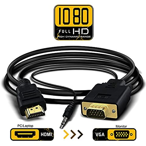 Full 1080p HDMI to VGA Video Converter Adapter Cable Male to Male D-SUB 15 Pin M/M Full 1080P with 3.5mm Audio Output One-way Signal Converter-1.8m/6ft