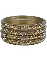 Sylque Stunning Golden Glass Bangles With Golden And Silver Nagh And Kundan Like Stone Setting
