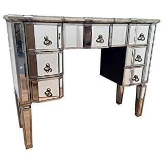 My Glam Home Vintage Mirrored Dressing Table, Wood, Antique Silver, 36x100x80 cm