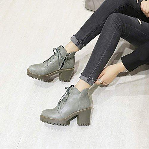 FUFU Scarpe da donna PU Inverno Inverno Boots Comfort Intaglia Tacco Round Toe Lace-up per Outdoor Office & Carriera Nero / Marrone / Grigio ( Colore : Nero , dimensioni : EU42/UK8.5/CN43 ) Grigio