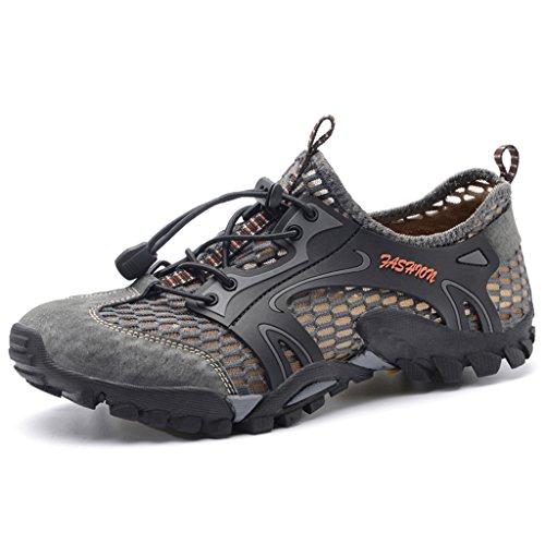 Laiwodun Herren Sommer Trekking Wanderschuhe Super Atmung Draussen Schuhe Mesh Vamp Wasserschuhe Sport Laufen Klettern 9321 Grau 43