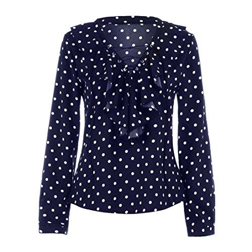 AmazingDays Chemisiers T-Shirts Tops Sweats Blouses,Femme Chemise à Manches Longues de Printemps Automne Polka Dot V Cou Shirt Haut blue