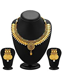 Zeneme Traditional Jewellery Temple Coin Necklace Set With Earrings Set For Women & Girls