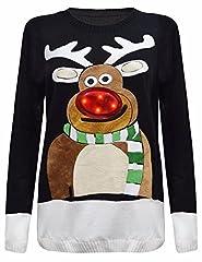 Idea Regalo - Janisramone Donna Uomo Nuovo Donne Albero di Natale Unisex Si Illumina Rudolph novità Top Vintage Maglione Jumper
