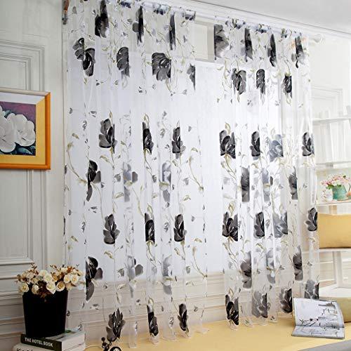 ToDIDAF Transparente Gardinen Vorhang 1 Stücke Reben Blätter Tüll Tür Fenster Vorhang Drapieren Panel Sheer Schal Volants für Zuhause Wohnzimmer Schlafzimmer Dekoration 100 x 130 cm (Schwarz) -