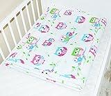 Amilian® Baby Bettwäsche Design: Eule Weiß Größe 100x135 cm (40x60 cm) Bettset Kinderbettwäsche