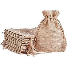 Lezed 20 pcs Bolsita Saco de Yute Bolsas de Arpillera Bolsas de Joyas Cordón Bolsa de