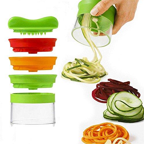 3-Blade Hand Held Vegetable Spiralizer, Spiral Slicer Creates Endless Spaghetti Noodles, Vegetable Spiralizer and Cutter, Spiral Noodles Zucchini Spaghetti Pasta Maker, Skitic Veggie and Fruit Spiralizer Vegetable Cutter Slicer Non Slip Grip