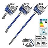 CLEANmaxx Zyklon-Handstaubsauger Multi-Sensation 2in1 600W in Blau/Silber ( Inklusive Staubmopp-Aufsatz zum gleichzeitigen Staubsaugen und Staubwischen mit Teleskoprohr )