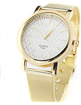 Franterd® Damenuhr elegant Gold Classic Damen Quarz-Edelstahl-Armbanduhr