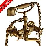 Robinets de baignoire support mural robinet de baignoire avec douche à main, Clawfoot Tub Laiton robinet laiton antique
