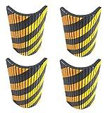 FSWP4425BYx4 Selbst Klebende, Stoßdämpfende Schaumstoffplatten, anpassbar an Wände durch seiner gerillten Oberfläche, in Garagen und Lagerhallen, Abmessungen 44x25x2 cm, schwarz / gelb (4 Stück)
