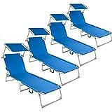 TecTake Chaise Longue Pliante Bain de Soleil avec Parasol Pare Soleil - diverses Couleurs et quantités au Choix - (4X Bleu | No. 400690)