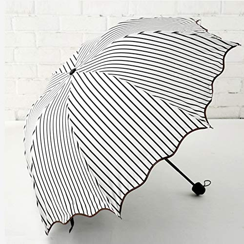 JiMany Regenschirm Sonnenschirm Automatik, Gestreift, Regentag Dual-Use, Faltbar, Unisex, Reise Unerlässlich,Black