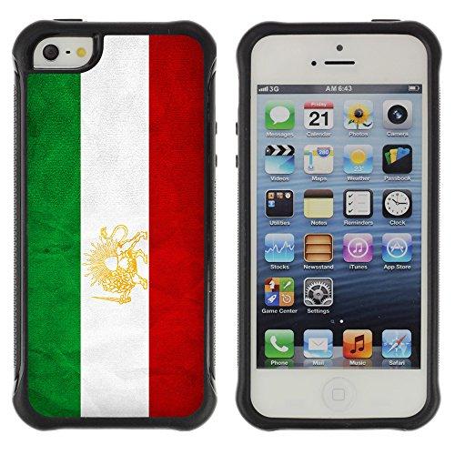 Graphic4You Vintage Uralt Flagge Von Iran Iraner Design Shockproof Anti-Rutsch Weichen Hülle Case Tasche Schutzhülle für Apple iPhone SE / 5 / 5S Drapeau Iranien Iran