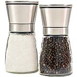Homdox 3469 Salz & Pfeffermühle Mühlenset mit Keramikmahlwerk 2 Stück