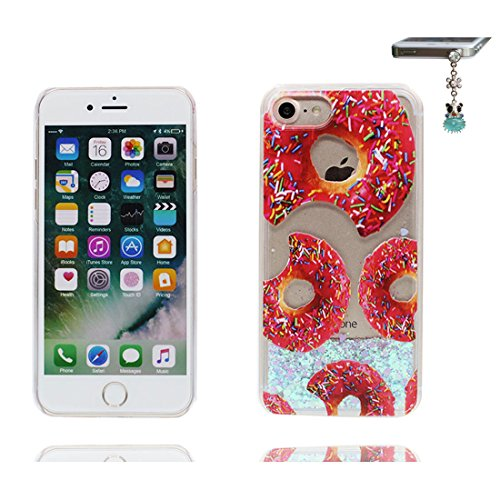 iPhone 6S Plus Custodia, iPhone 6 Plus Copertura, Bling liquido fluido trasparente in silicone durevole Cartoon Cover & tappi antipolvere - Ciambella Donuts ( Case Per iPhone 6s Plus /6 Plus 5.5 ) # 2