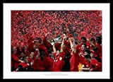 Framed Liverpool FC 2005 Champions League Team Photo Memorabilia