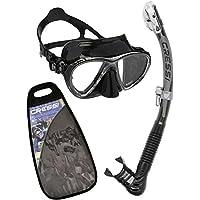 Cressi Big Eyes Evo & Alpha Ultra Dry Combo Set per Snorkelling, Nero [Prodotto in Italia]