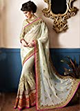 Weaver2user Women's Silk and Georgette Handwork Saree with Blouse (D.NO.93007, Light Cream)