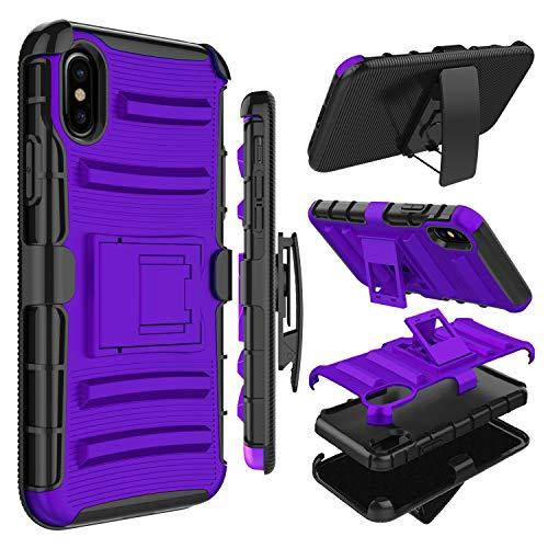 Zenic kompatible iPhone Hülle, strapazierfähig, stoßfest, Ganzkörper-Schutzhülle mit drehbarem Gürtelclip und Ständer kompatibel mit iPhone, violett Swivel Clip Carry Sleeve