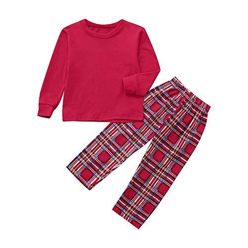 Riou Weihnachten Baby Kleidung Set Kinder Pullover Pyjama Outfits Set Familie Familie Passenden Weihnachten Pyjamas Set Frauen Kind Papa Erwachsene PJs Fun Nachtwäsche (8T, Rot)