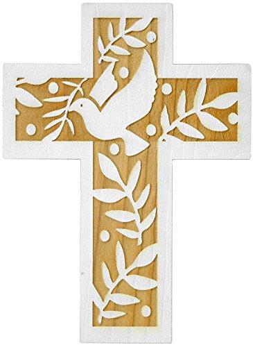 schenkidee - 24 cm Wandkreuz Echtes Holz Kreuz aus Fichte Kruzifix mit Taube für die Wand modern gefertigt im Grödner Tal Südtirol ()
