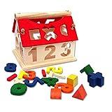 PIXNOR Trier Boîte Maison Jouets en Bois Forme À Trier Et À Empiler Jeux de Construction Puzzle jouets éducatifs