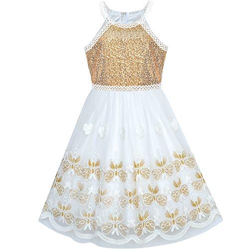 Sunboree Mädchen Kleid Gold Schmetterling bestickte Halfter kleiden Party Gr. 134