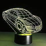 3D Optical Illusion LED Nachtlicht, Hi-azul 7-Farben ändern Touch Tisch Schreibtisch Lampe Deko Lampe mit Acryl Platte & ABS Base & USB Ladegerät für Geschenke (Auto)
