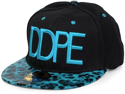 styleBREAKER Snapback Cap 'DDPE' im Leo Design mit Schlangen Prägung, verstellbar, Unisex 04023034, Farbe:Schwarz-Türkis