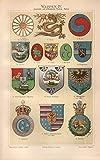 Wappen IV, Japan, China, Ägypten, Persien u.a. - Antiquarische Lithografie (Sammlerstück) von 1897