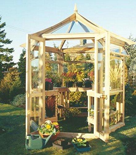 G&C Victorian - sechseckiges Gewächshaus aus Holz - 4mm gehärtetes Glas - Maße: h 300 cm x 240 cm x 208 cm