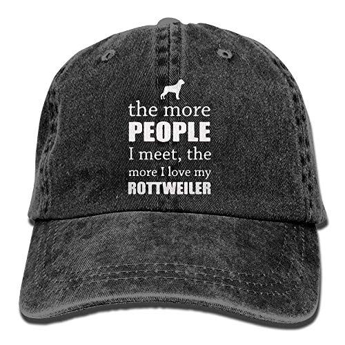 Funny&shirt Denim Baseball Cap The More People I Meet - Rottweiler-1 Men Baseball Cap Adjustable Dad Hat Custom Fit Stretch Cap