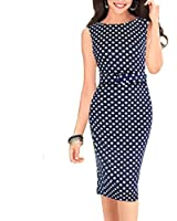 OU GRID Women's 3/4 Sleeve Ruched Waist Classy V-Neck Casual Cocktail Dress