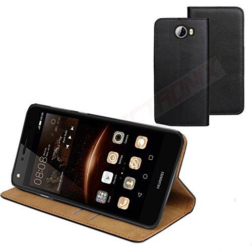 MOELECTRONIX ECHT Leder Buch Klapp Tasche Schutz Hülle Flip Case Etui CUN-L21 für Huawei Y5 II Y5 2 Dual SIM